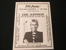 Eric Johnson & The Avenue 8 X 11 Original Flyer !0/26/84 Nightmoves, Houston TX