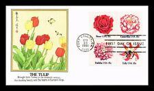 US COVER FLOWERS FDC SETENANT TULIP FLEETWOOD CACHET
