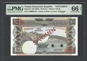 Yemen Democratic Republic  10 Dinars ND(1967) P5s Specimen UNC Grade 66 Top Pop