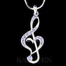 w Swarovski Crystal Lavender Purple TREBLE G CLEF MUSIC NOTE Heart Necklace Cute