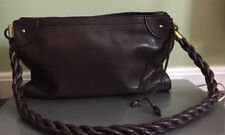 Brown vegan leather purse handbag Relic by Fossil zip top shoulder twisted strap