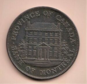 CH # PC- 1B4 1844  1/2 PENNY  BANK 0F MONTREAL TOKEN   VERY FINE