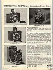 1934 PAPER AD German Kodak Camera Pupille Vollenda Recomars 18 33 Folding