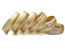 18K Gold Plated Layered Diamond Cut Solid Fashion Chunky Bangle Set 3 Tone 6pcs