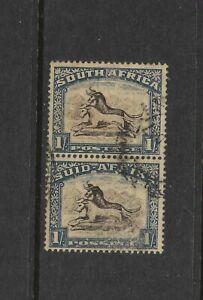 South Africa Scott #29 used 1927 pair, 1 shilling deep blue & bister Gnu, f/vf