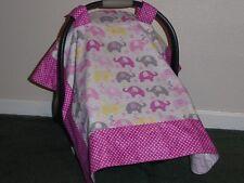 ** ELEPHANTS** w/ polka dots Handmade Baby Infant Car Seat Canopy-Cover