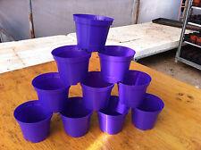 10 X PURPLE PLASTIC PLANT POTS 9CM