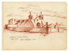 HILDA CASTELLON, ST. FRANCIS OF ASSISI MISSION, TAOS, N.M, signed drawing, 1942.
