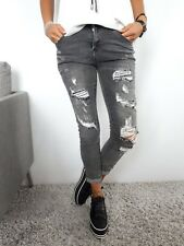 ★VIARELLA Skinny Stretch Jeans Hose Jeggings destroyed Strass Glitzer grau★ 38/M