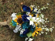 Wedding flowers bridal bouquets decorations sunflowers turquoise navy blue
