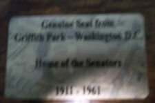 GRIFFITH    Stadium seat PLAQUE HOME OF THE WASHINGTON  SENATORS