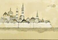 Ossi Czinner Città Fantastica Litografia Originale Firmata Prova d'Autore 50x70