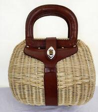 Cute Vintage Garay Basket Straw Top Handle Kelly Bag Vachetta Cowhide Trim