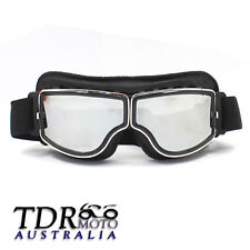 Black WWII Style German Motorcycle Harley Style Chopper Biker Pilot Goggles