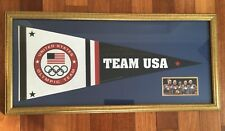 CUSTOM FRAMED PENNANT ALY RAISMAN  2012 Gold Medal LONDON Gold Pen Auto COA RARE
