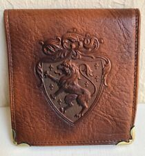 Nos Vintage 1930s Leather Wallet Billfold Machine Tooled Lion Shield in Box New