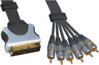 121AV 0.75m Scart Plug 21 Pin To 6 x RCA Phono Male Plug Lead Gold Plated Pins
