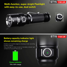 Klarus ST15 1100LM LED Dual Switch Tactical Flashlight Torch 18650 + Holster