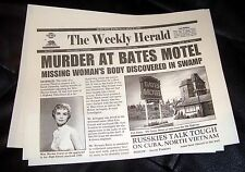 PSYCHO prop Vintage Newspaper Alfred Hitchcock classic Norman Bates Motel