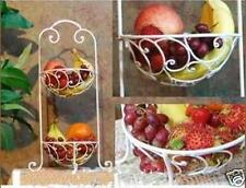Iron French Two Tier Fruit Basket Stand Rack White
