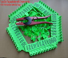 Green 001--100 Number cattle Ear Tags + ear tag forcep