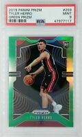 2019-20 Panini Prizm Green Tyler Herro Rookie RC #259, Miami Heat, Graded PSA 9