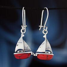 Koralle - Silber 925 - Ohrhänger  Ohrringe Segelboot H350