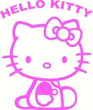 HELLO KITTY, rose vif, Wall Art Decal autocollant, Murs miroir porte ordinateur portable, UK