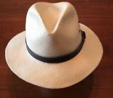 WOOLRICH  Men's Paper Braid Ivory Safari Hat w/ Brown Band Size L