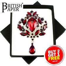 NEW CRYSTAL PIN BACK BROOCH RED BLACK GOLD SILVER GREEN VINTAGE ROSE FLOWER GIFT