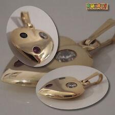 Herz Anhänger Rubin Saphir Zirkon 585 Gold 14k - goldener Herz Anhänger