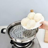 Steel Steamer Plate Rack+3 Stands Insert Steaming Pot Cookware M4J2