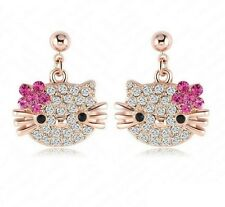 hello kitty rhinestone  earrings rose gold plated brandnew