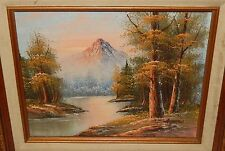 G.WHITMAN SNOW MOUNTAIN RIVER LANDSCAPE ORIGINAL OIL ON BOARD PAINTING
