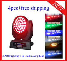 36*18W RGBWAP 6 in 1 Led Moving Head Zoom Wash Effect Light 4pcs Free Shipping