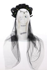 C-24 Widder Devil Horns Headband Headdress BLACK ROSES 1m Veil Gothic