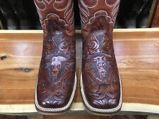 Hand Tooled Leather Square Toe Boots Cincelada Trabajo Echó a Mano de Piel Rodeo