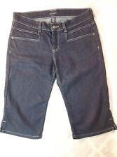 Sonoma Women's 8 Crop Clam-Digger Knee Jean Shorts Pants Capri Dark Blue Denim