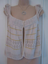 Next Petite size 12 cream sleeveless shrug, yellow stripes, perfect for summer