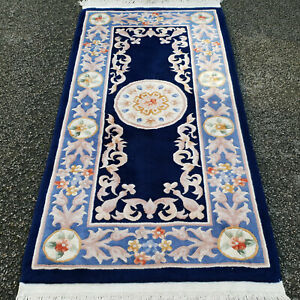 "Chinese Aubusson Indigo Handwoven Peking Rug 5'10""x2'6"" (177x77cm Carpet)"