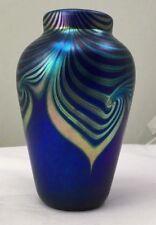 STEVEN CORREIA ART GLASS VASE-DEEP PURPLE/COBALT/GOLD & GREENS PULLED FEATHER