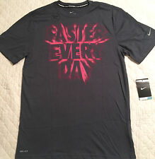 NWT Mens Nike M Dri-Fit Dark Gray/Neon Red Pink FASTER EVERY DAY Shirt Medium