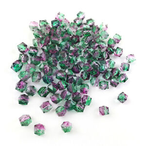 Green/Purple Acrylic Beads Faceted Cube 8mm Pack Of 100+