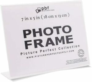 Acrylic document/picture frame 5X7 horizontal stand up tabletop NEW!