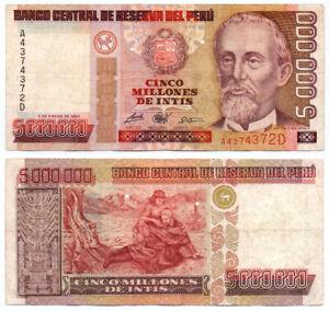 PERU - 5000000 5,000,000 INTIS NOTE P-149 1990 - F/VF