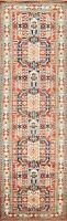 Traditional Geometric Oriental Super Kazak Runner Rug Wool Hand-knotted 3x10 ft