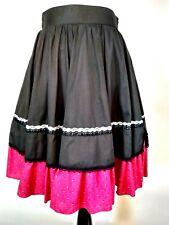 Fashions By Bettye Womens Vintage Black Pink Square Dance Zipper Skirt Small