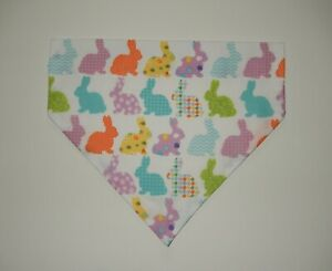 EASTER PATTERNED BUNNIES ON A WHITE BACKGROUND DOG SCARF/BANDANA--S, M, L