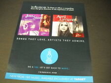 JOSS STONE and AVRIL LEVINE have Influences 2007 dual PROMO DISPLAY AD mint cond