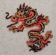 Small Chinese Dragon Facing LEFT Red/Black - Iron on Applique/Embroidered Patch